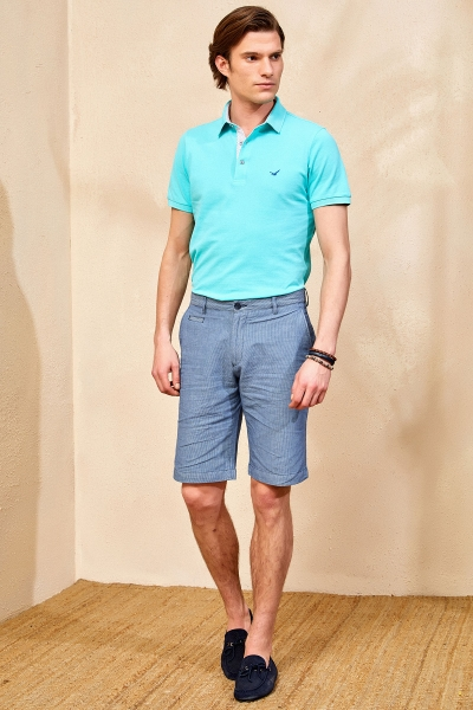 DALIAN STRIPE BERMUDA SHORTS - BLUE