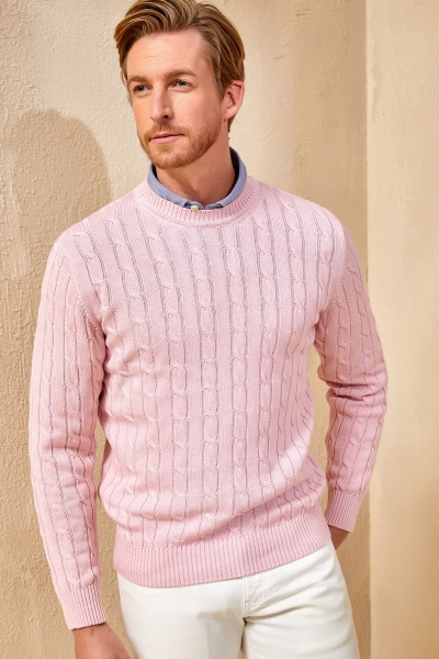 SMILE - GUSTAVIA BAIDED KNIT SWEATER - PİNK