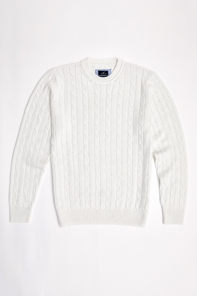 SMILE - GUSTAVIA BRAIDED KNIT SWEATER - OFF WHITE (1)