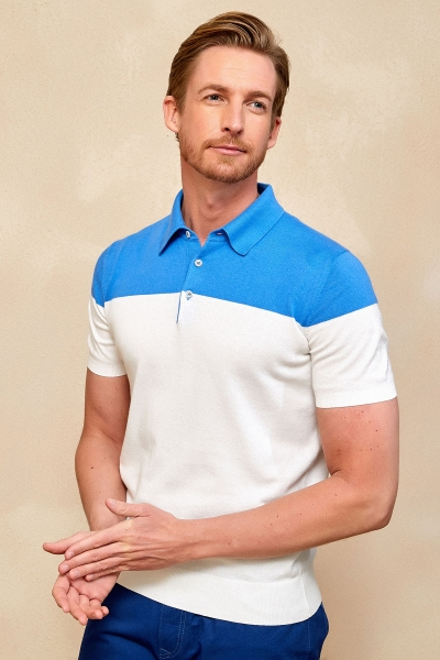 SMILE - MAGENS KNITWEAR POLO T- SHIRT BLUE - OFF WHITE