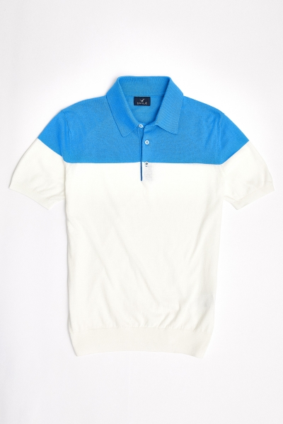 SMILE - MAGENS KNITWEAR POLO T- SHIRT BLUE - OFF WHITE (1)