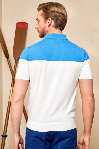 MAGENS KNITWEAR POLO T- SHIRT BLUE - OFF WHITE