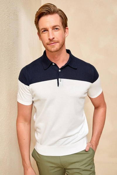 SMILE - MAGENS KNITWEAR POLO T- SHIRT NAVY - OFF WHITE