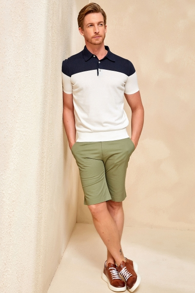 MAGENS KNITWEAR POLO T- SHIRT NAVY - OFF WHITE