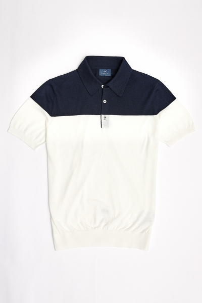 SMILE - MAGENS KNITWEAR POLO T- SHIRT NAVY - OFF WHITE (1)