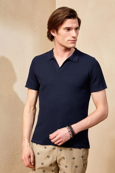 SMILE - MULLINS KNIT MAN POLO - NAVY