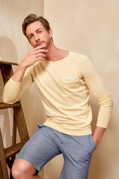 SMILE - VINCENT ROUND NECK KNITWEAR - YELLOW
