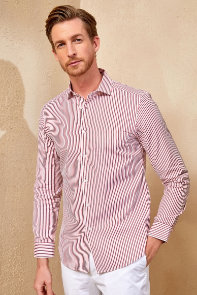 SMILE - FLAMANDS STRIPED SHIRT - RED