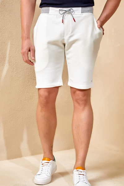 SMILE - KNIP SWEAT SHORT - OFF WHITE