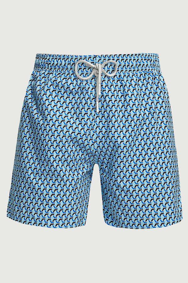 SMILE - GEOMETRICO MAN SWIM SHORTS - BLUE
