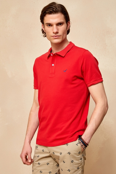 SMILE - CAYMAN BIG SIZE RED MAN POLO T-SHIRT