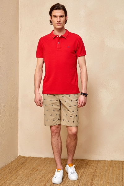 CAYMAN BIG SIZE RED MAN POLO T-SHIRT