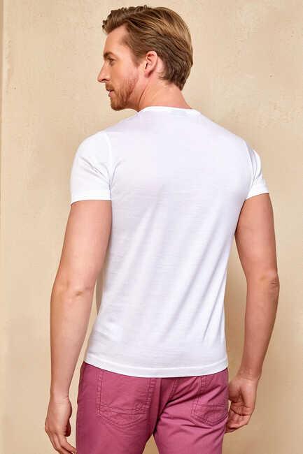 MECERO MERCERISED ROUND NECK T- SHIRT - WHITE