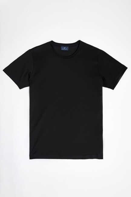 MERCERO MERCERISED ROUND NECK T- SHIRT - BLACK