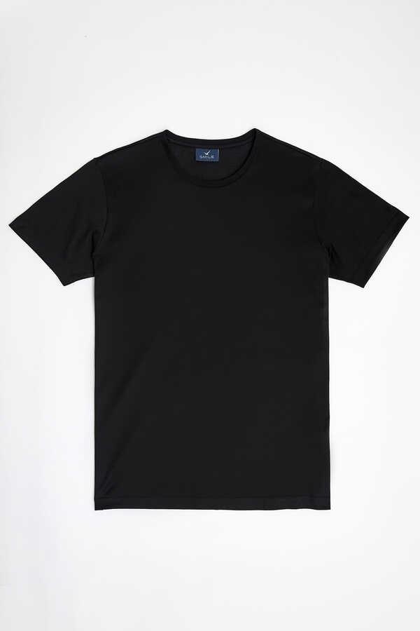 SMILE - MERCERO MERCERISED ROUND NECK T- SHIRT - BLACK (1)