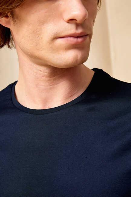 MERCERO MERCERISED ROUND NECK T- SHIRT - NAVY