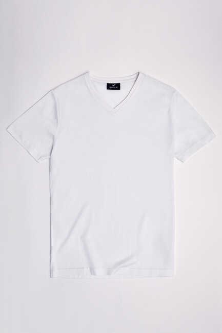 MERCUNI MERCERISED V NECK T- SHIRT - WHITE