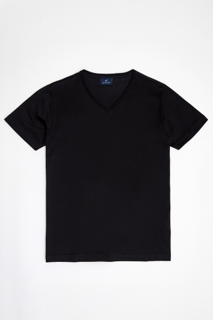 MERCUNI MERCERRISED V NECK T- SHIRT - BLACK