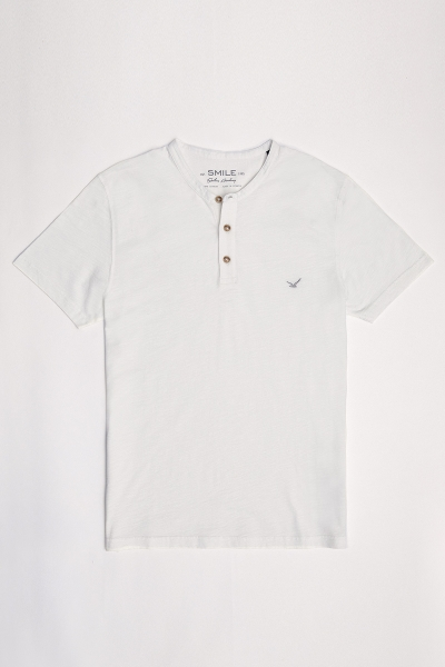SMILE - NORTH HENLEY T- SHIRT - OFF WHITE (1)