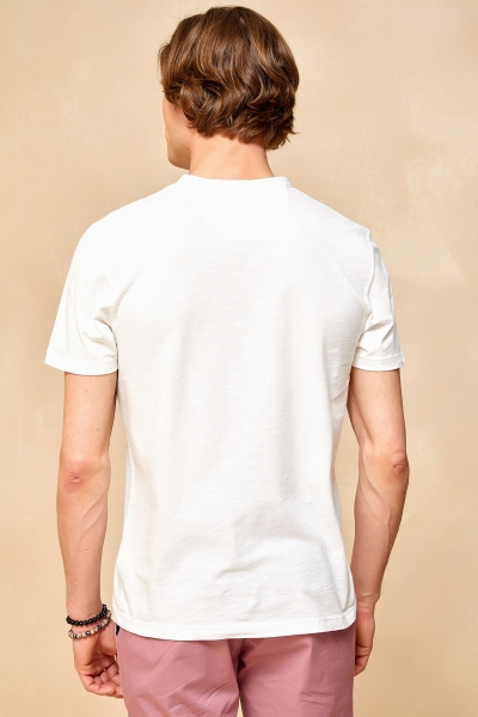 NORTH HENLEY T- SHIRT - OFF WHITE